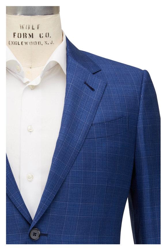 Ermenegildo Zegna Royal Blue Plaid Wool Sportcoat