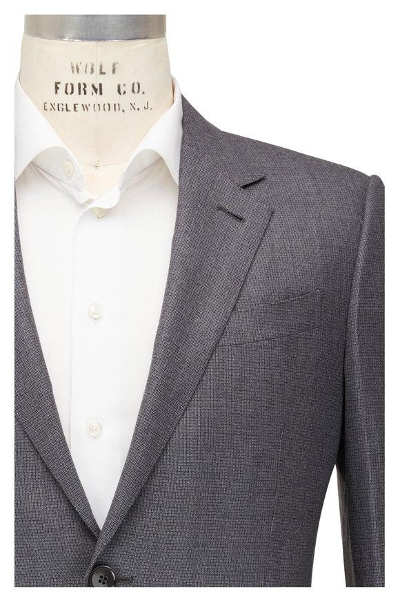 Ermenegildo Zegna Grey Tonal Plaid Wool Sportcoat