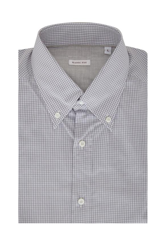 Brunello Cucinelli Gray Gingham Basic Fit Sport Shirt