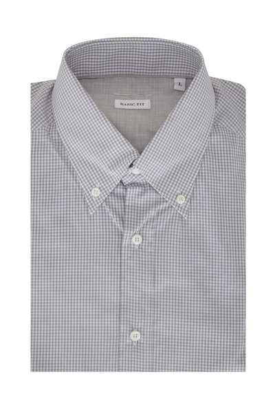 Brunello Cucinelli - Gray Gingham Basic Fit Sport Shirt