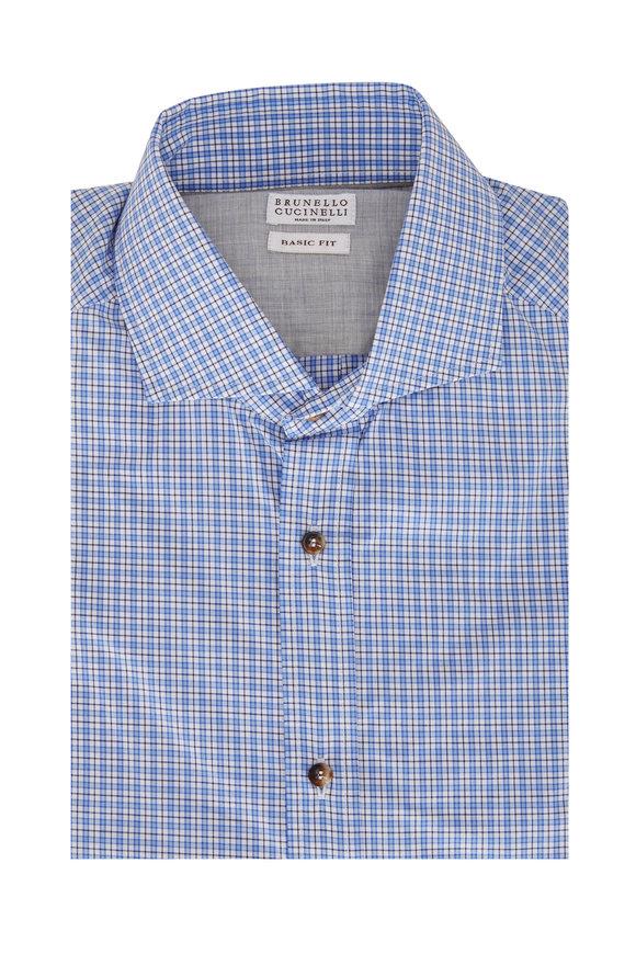 Brunello Cucinelli Blue Mini Plaid Basic Fit Sport Shirt