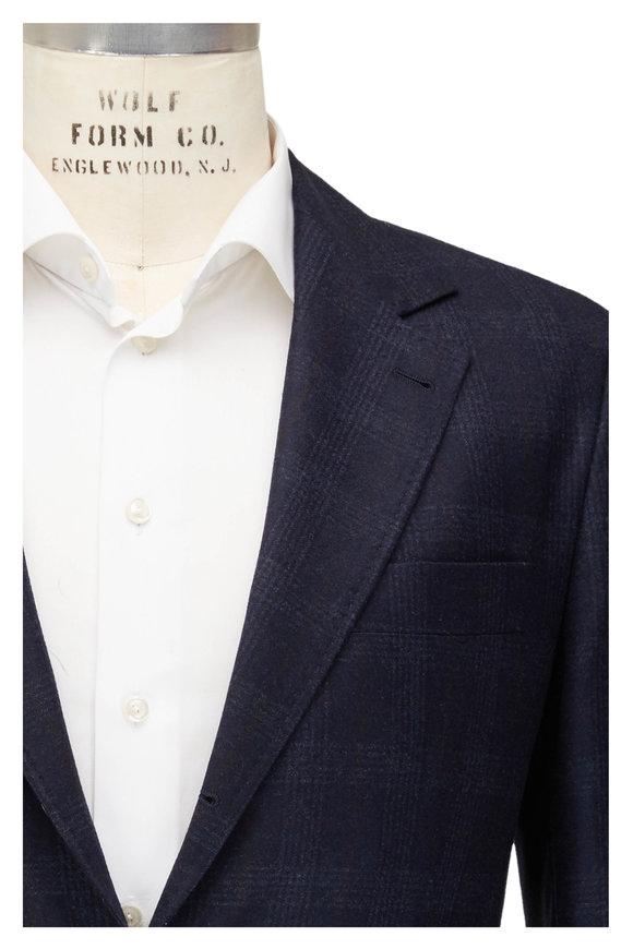 Brunello Cucinelli Navy Blue Tonal Wool Sportcoat