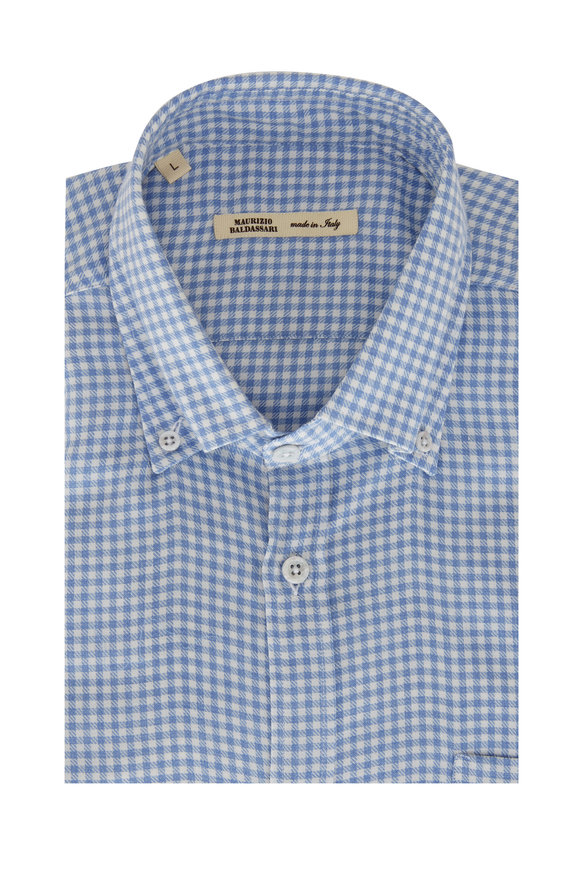 Maurizio Baldassari Light Blue & White Checkered Sport Shirt