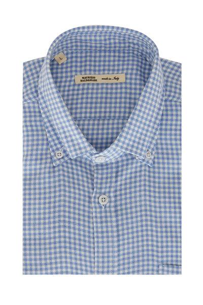 Maurizio Baldassari - Light Blue & White Checkered Sport Shirt
