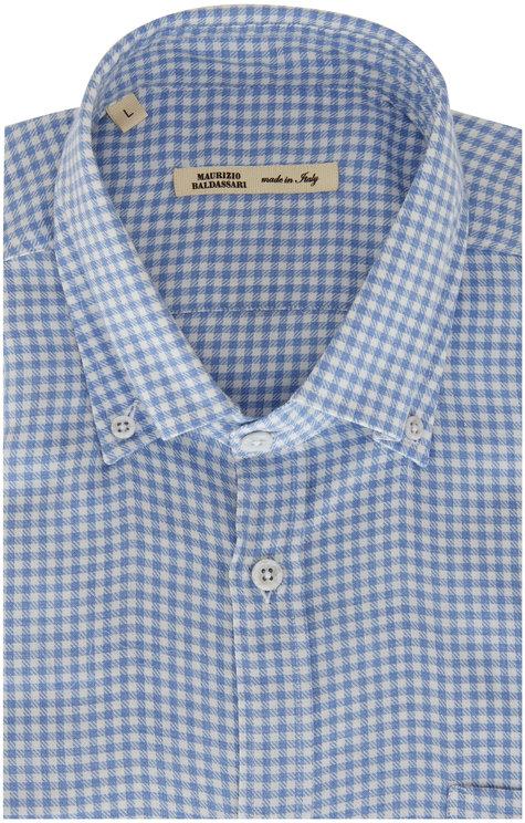 Maurizio Baldassari Light Blue & White Checkered Sport Shirt