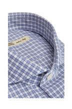 Maurizio Baldassari - Navy Blue & White Mini Plaid Sport Shirt