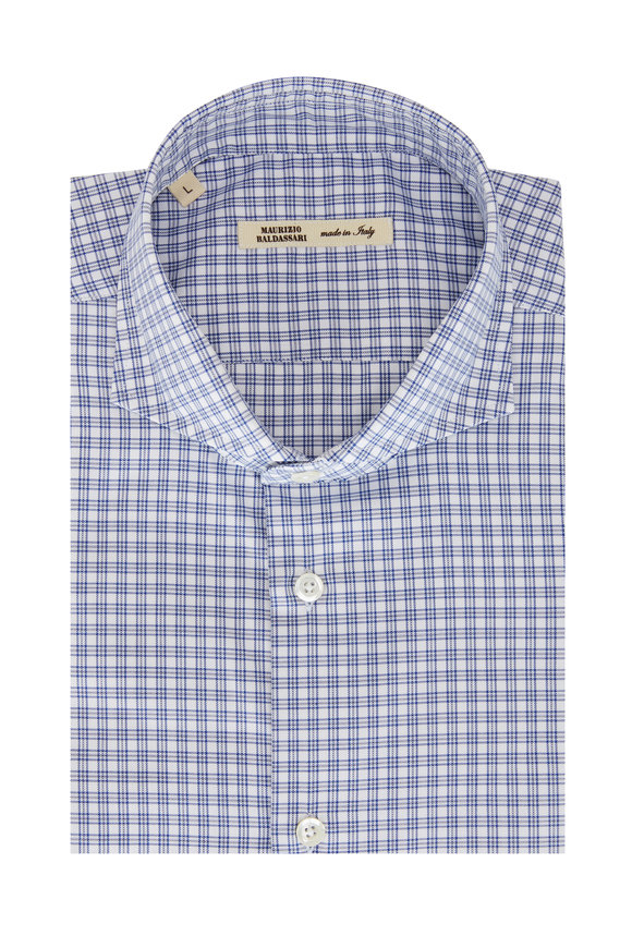 Maurizio Baldassari Navy Blue & White Mini Plaid Sport Shirt