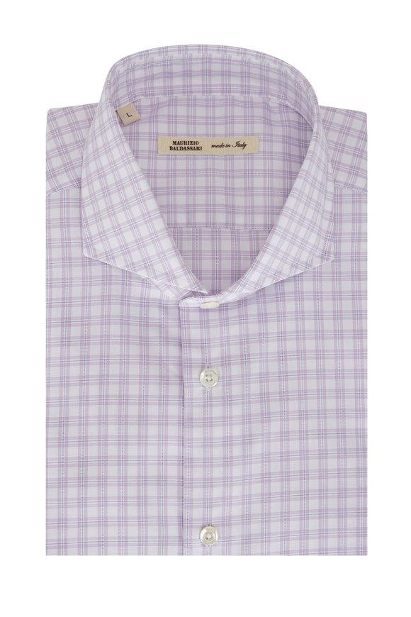 Maurizio Baldassari Lavender & White Mini Plaid Sport Shirt