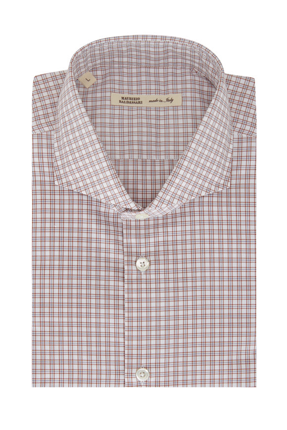 Maurizio Baldassari Brown, White, & Blue Mini Plaid Sport Shirt