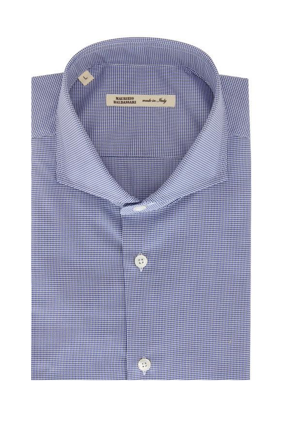 Maurizio Baldassari Navy Blue Mini Houndstooth Sport Shirt