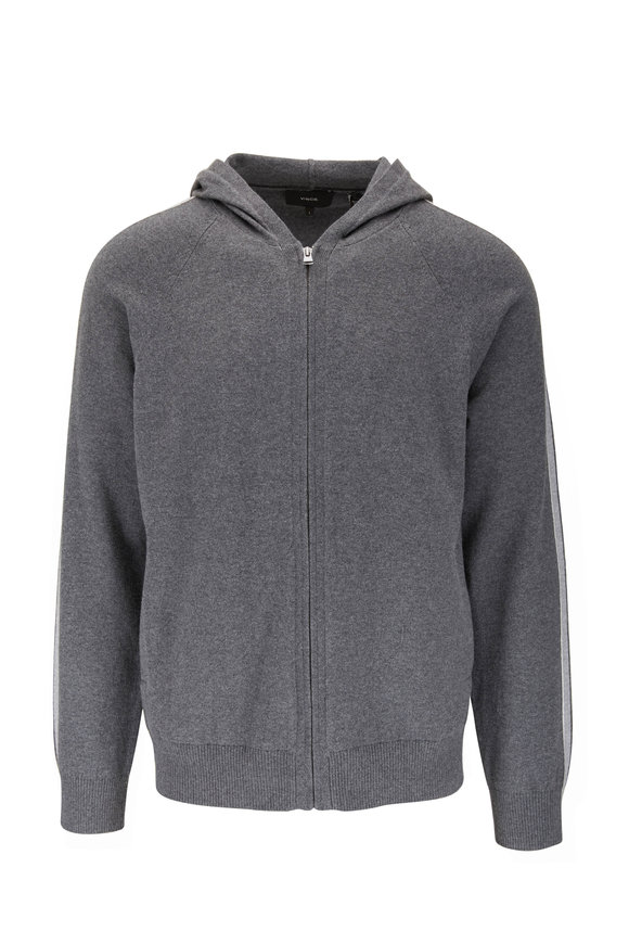 Vince Dark Grey Cotton & Cashmere Full Zip Hoodie