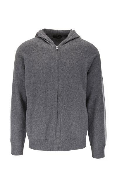 Vince - Dark Grey Cotton & Cashmere Full Zip Hoodie
