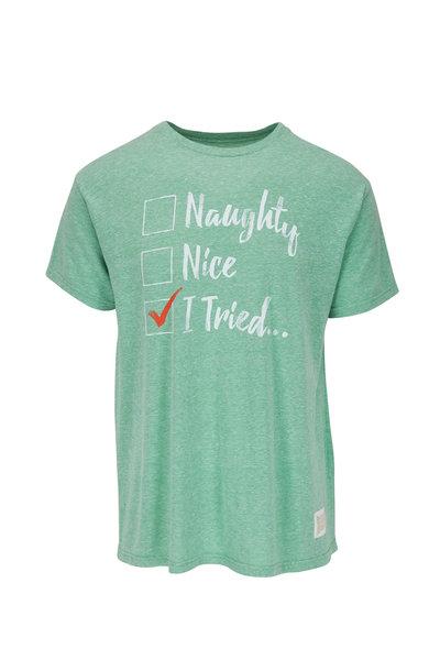 Retro Brand - Light Green Graphic T-Shirt