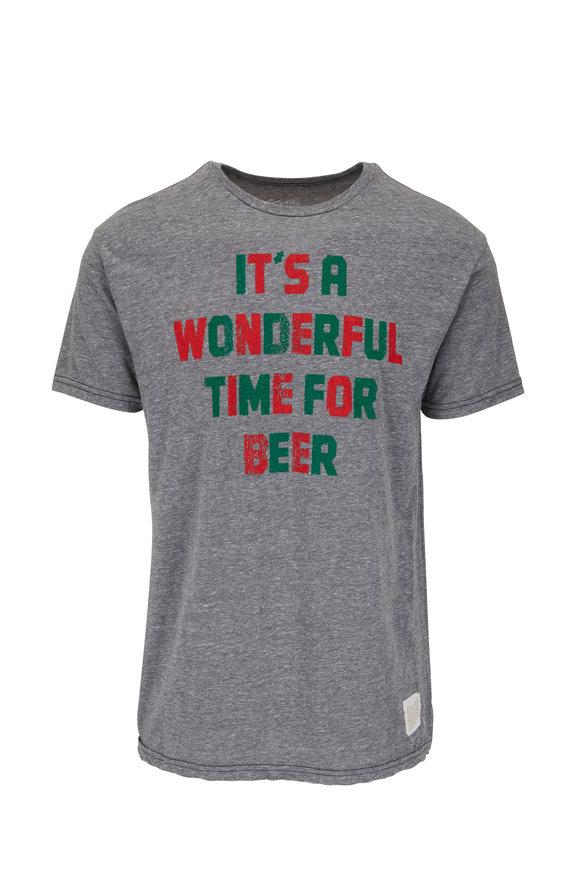 Retro Brand Gray, Red, & Green Graphic T-Shirt