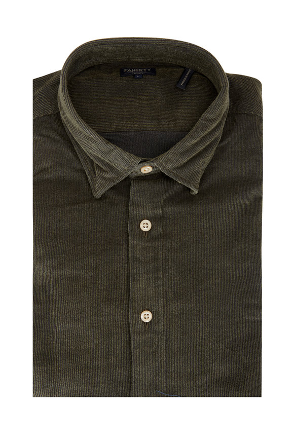 Faherty Brand Olive Green Cotton Cord Sport Shirt