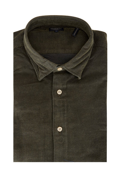 Faherty Brand - Olive Green Cotton Corduroy Sport Shirt