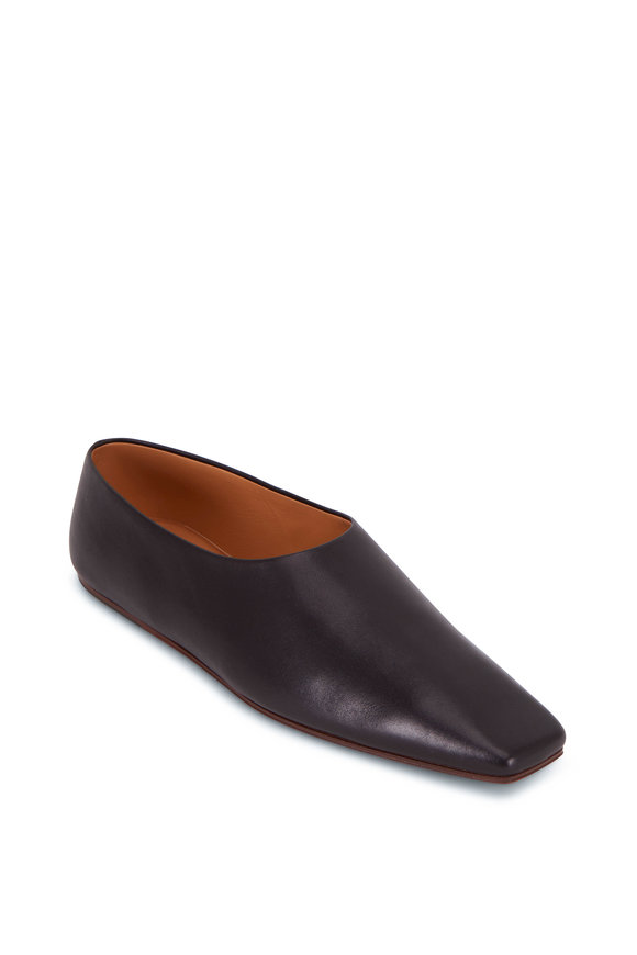 The Row Black Leather Square Toe Flat
