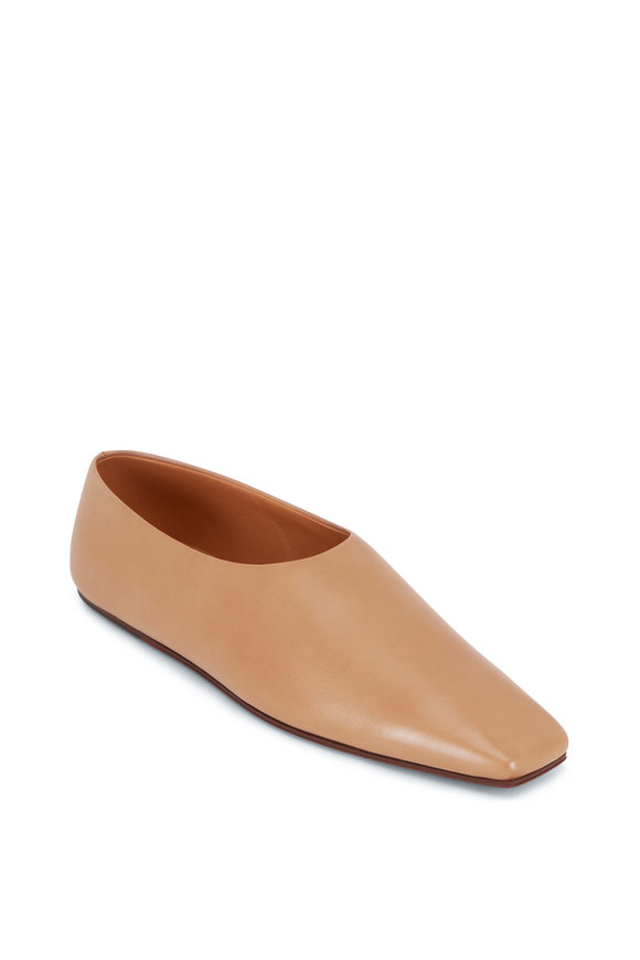 The Row Camel Leather Square Toe Flat