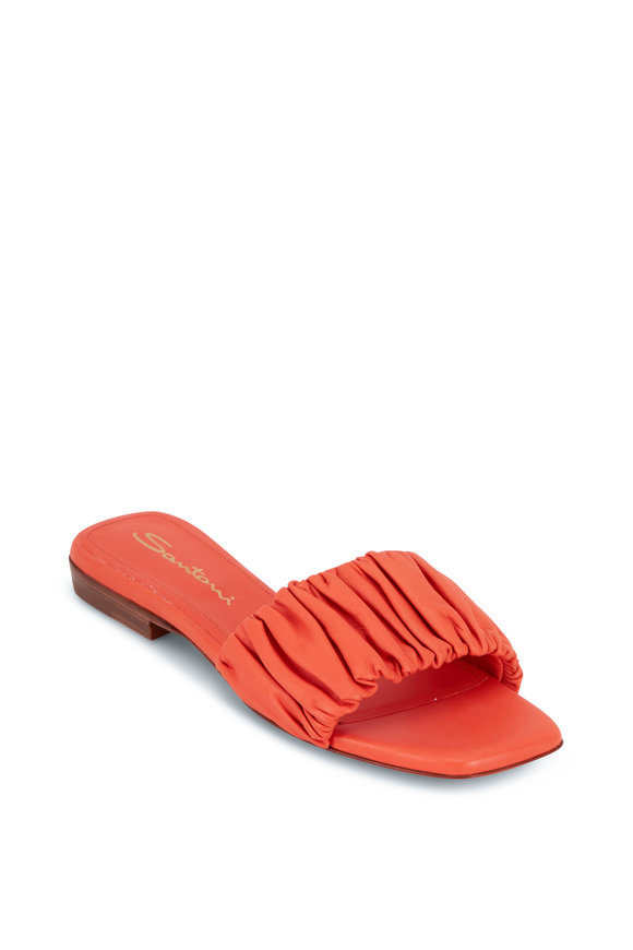 Santoni Allonge Orange Leather Slide Sandal