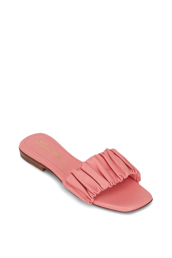Santoni Allonges Pink Leather Slide Sandal