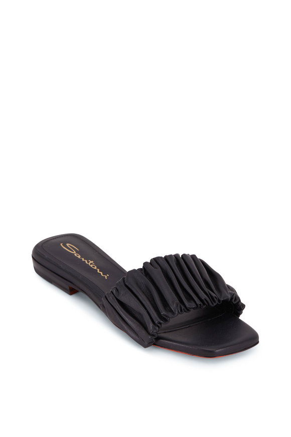 Santoni Allonge Black Leather Slide Sandal