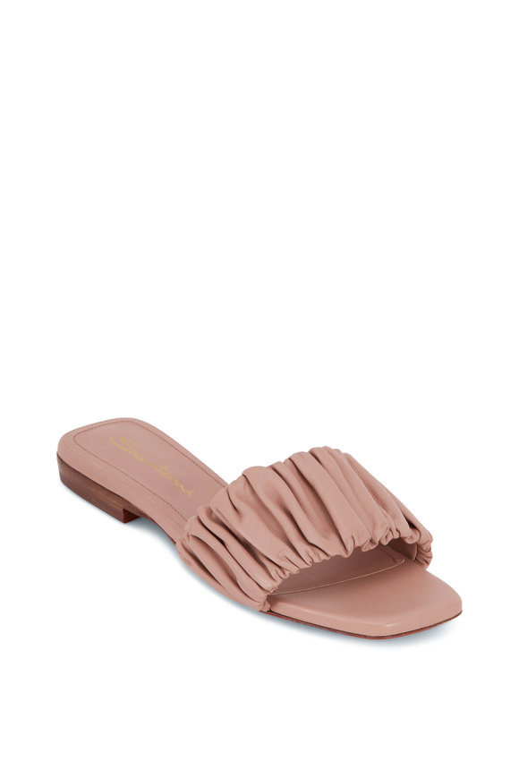 Santoni Allonge Nude Leather Slide Sandal