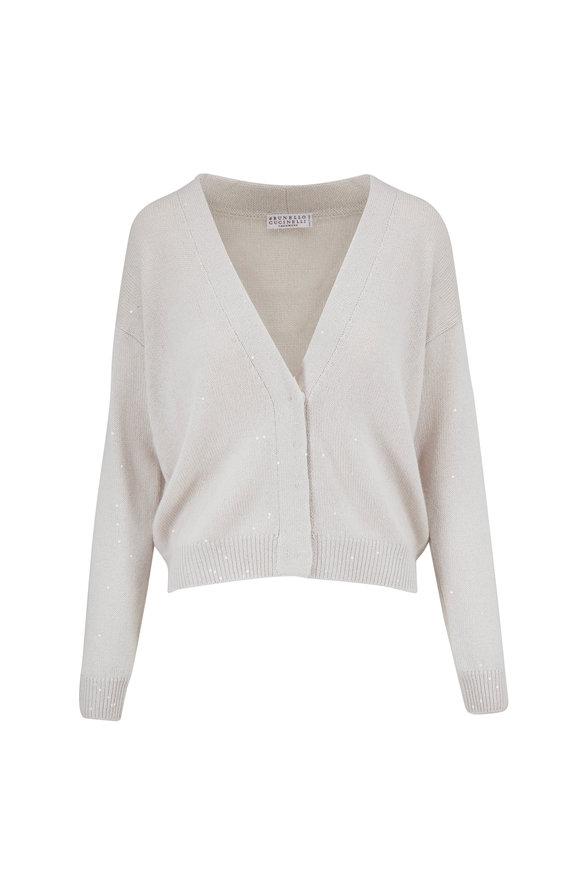 Brunello Cucinelli Warm White Cashmere & Silk Paillette Cardigan