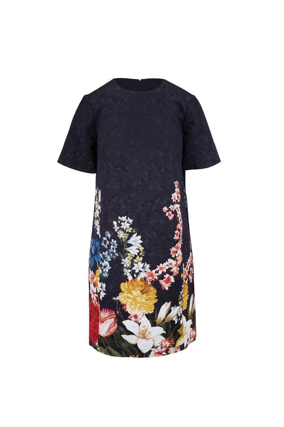 Oscar de la Renta Navy Blue Embroidered Short Sleeve Shift Dress