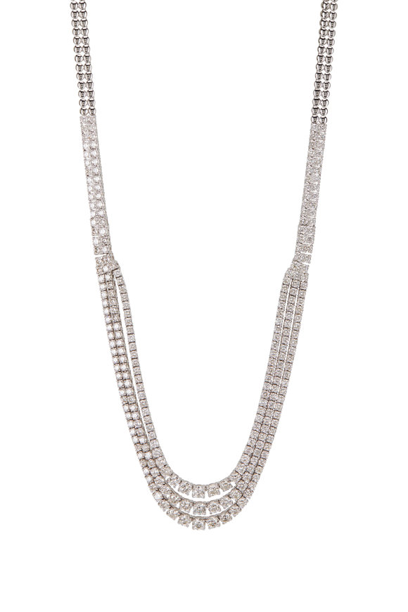 Louis Newman White Gold Diamond 3 Row Halfway Necklace
