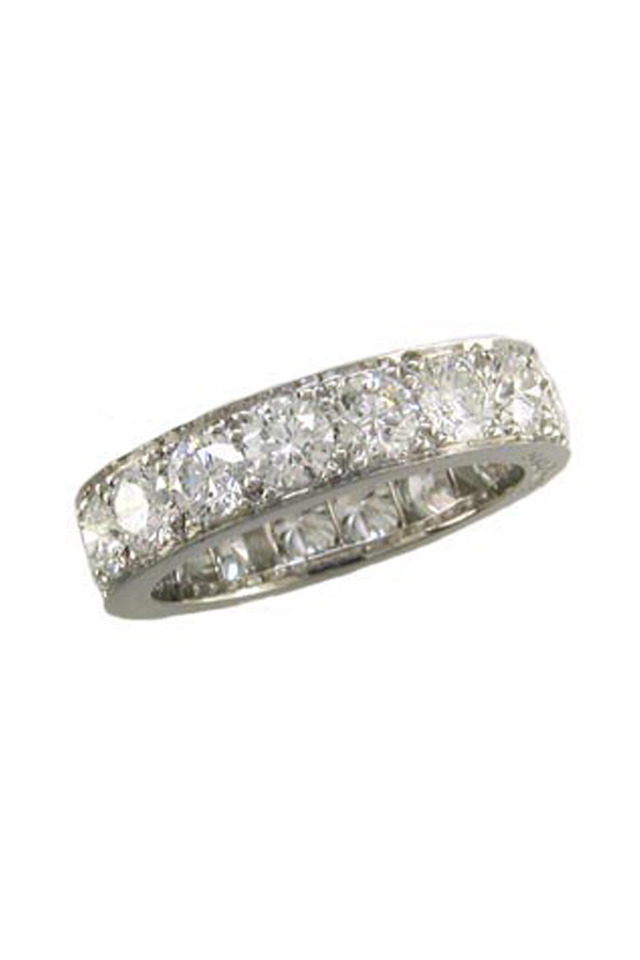 Diamond Platinum Bead-Set Guard Ring