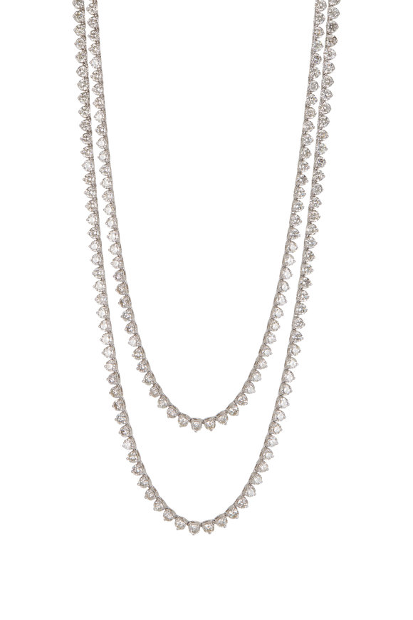 Louis Newman White Gold Diamond Opera Necklace