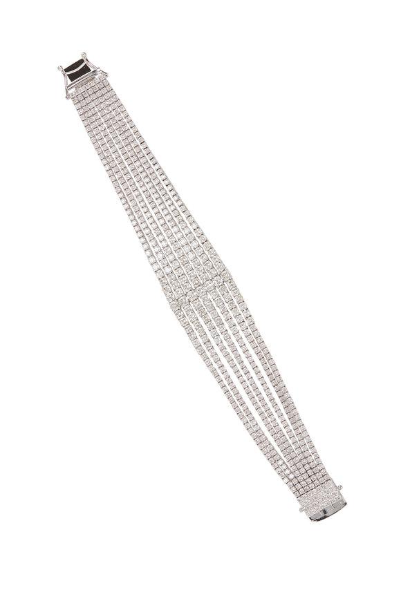 Louis Newman White Gold Diamond 6 Row Bracelet