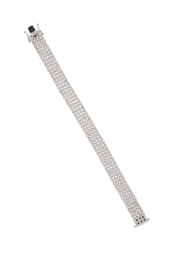 Louis Newman White Gold Diamond 4 Row Bracelet