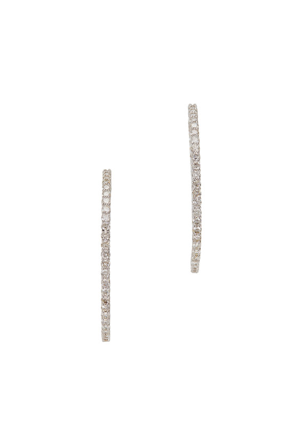 Louis Newman White Gold Diamond Hoops