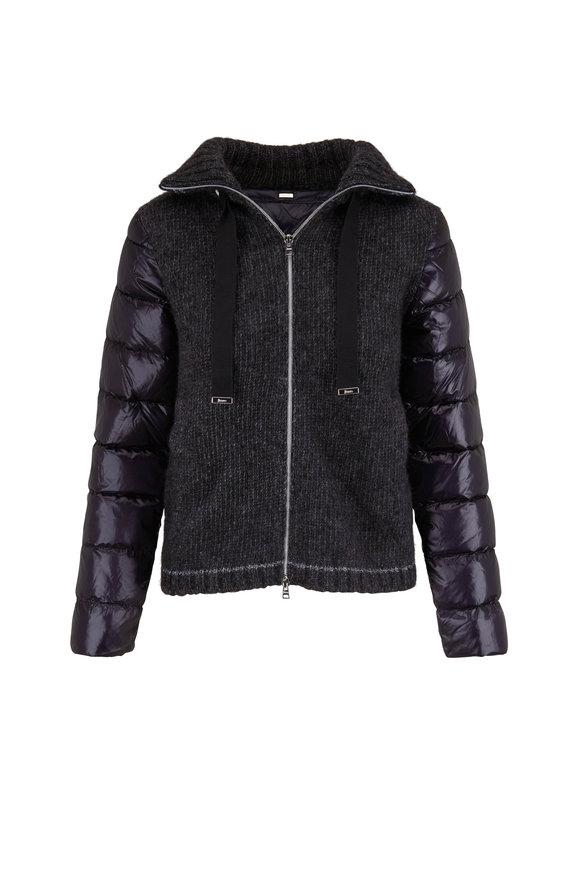 Herno Black Knit & Down Short Coat
