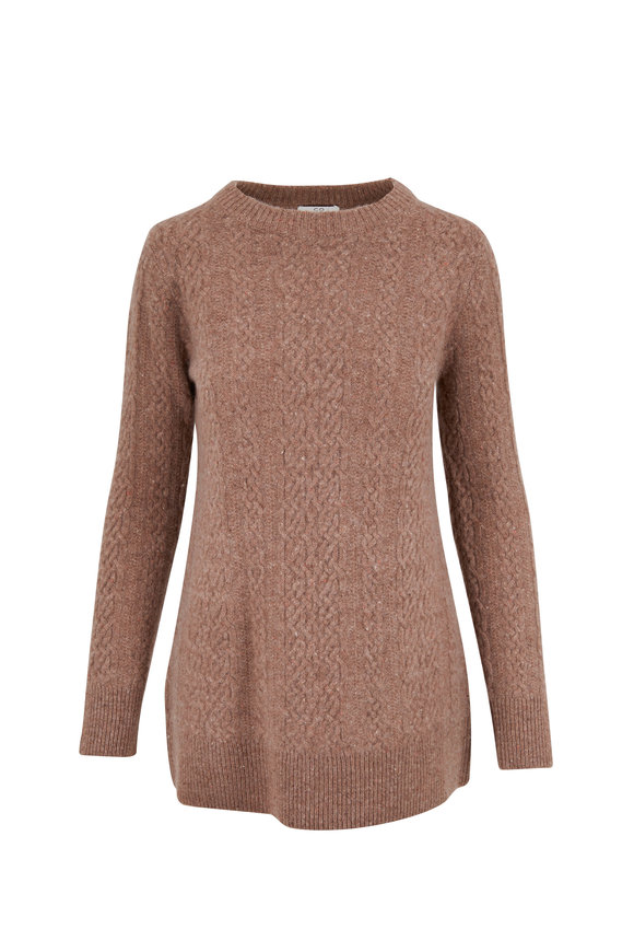 CO Collection Speckled Pecan Cashmere Cable Knit Sweater