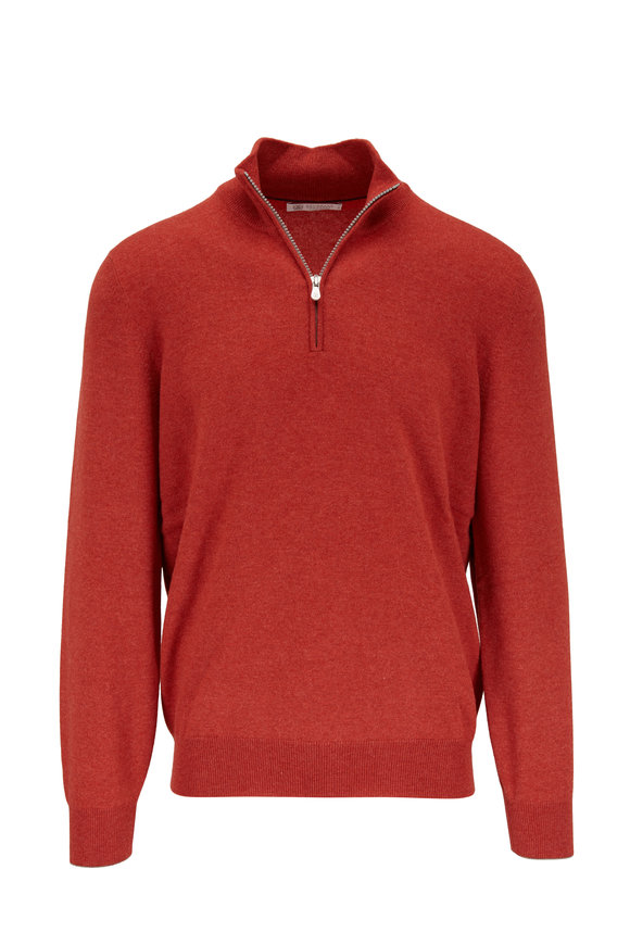 Brunello Cucinelli Dark Orange Cashmere Quarter Zip Pullover