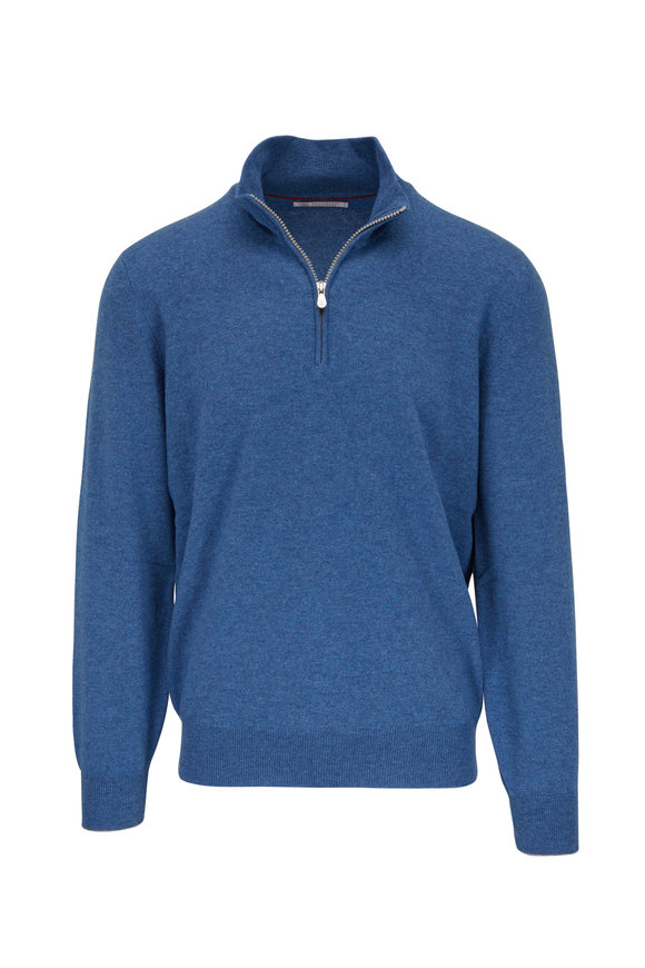 Brunello Cucinelli Waves Cashmere Quarter Zip Pullover