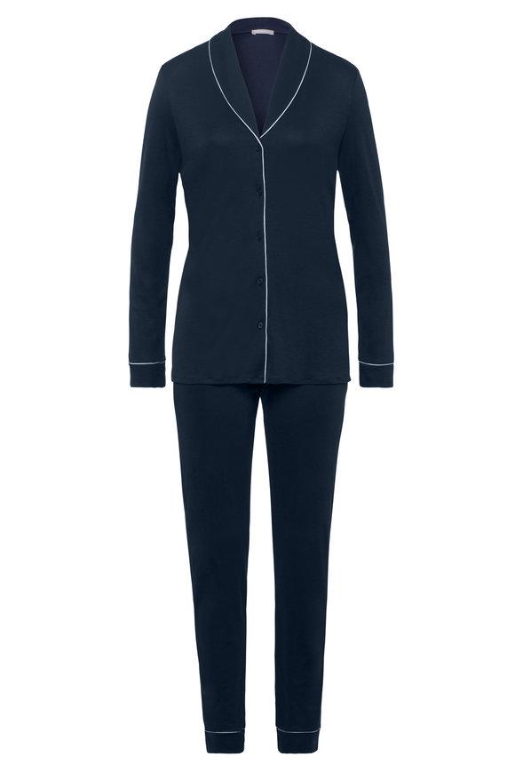 Hanro  Navy Natural Comfort Pajama Set