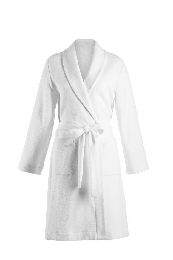 Hanro  White Plush Robe with Tie Belt