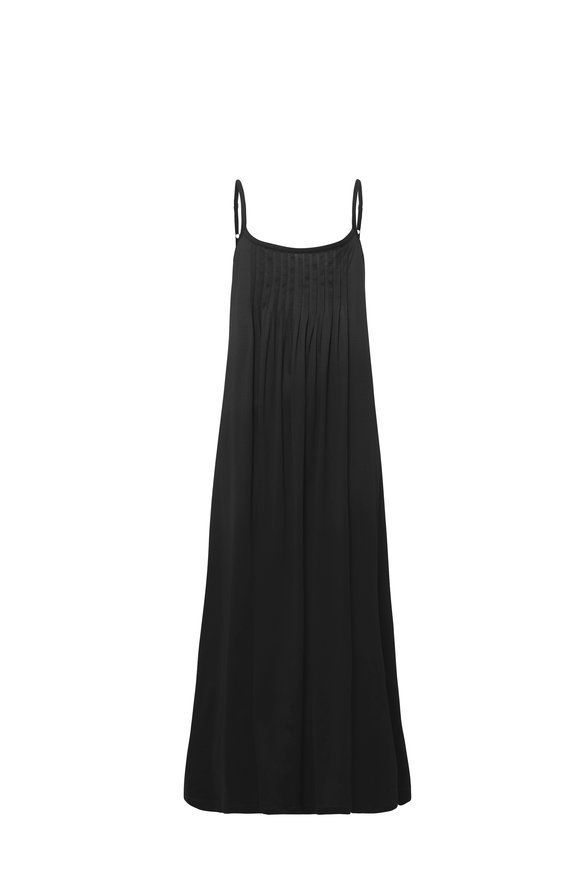 Hanro  Black Cotton Juliet Pleated Chemise