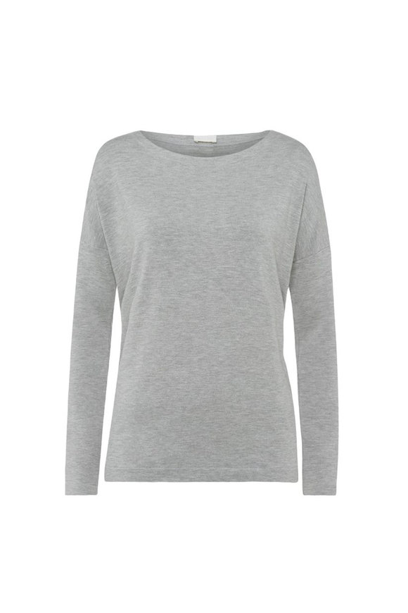 Hanro  Grey Balance Long Sleeve Boatneck Pullover