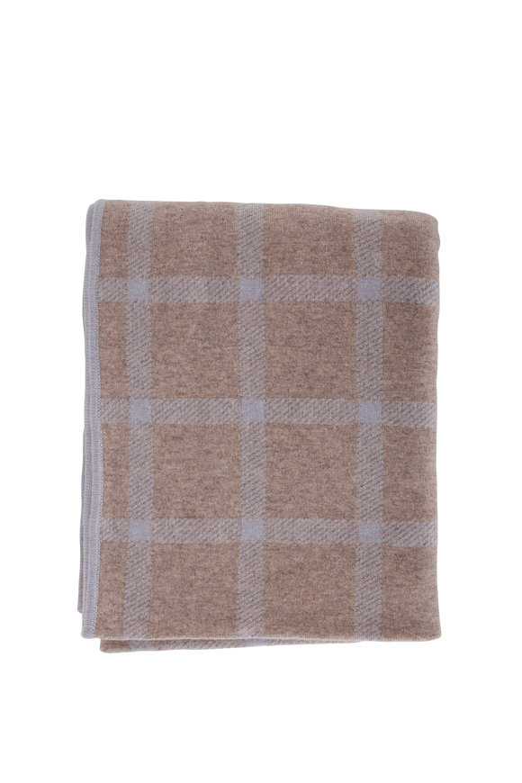 Kinross Mink & Dove Double Knit Check Throw Blanket