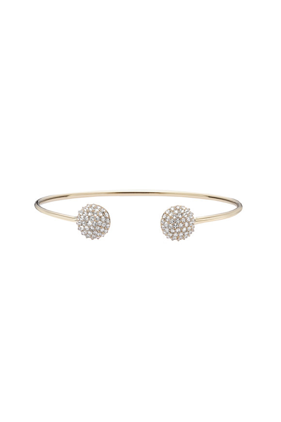 Nam Cho 18K Yellow Gold Double Ice Diamond Ball Cuff