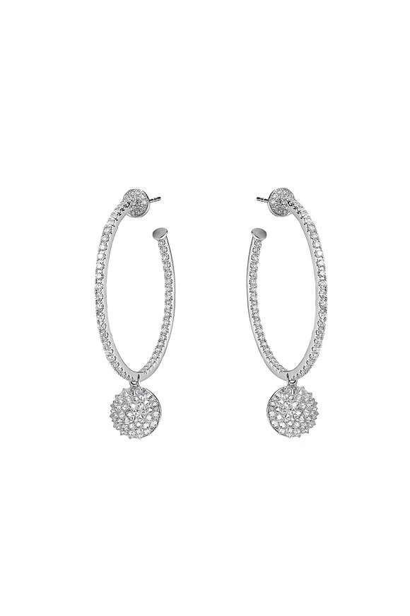 Nam Cho 18K White Gold Diamond Basic Hoops With Ball Drop