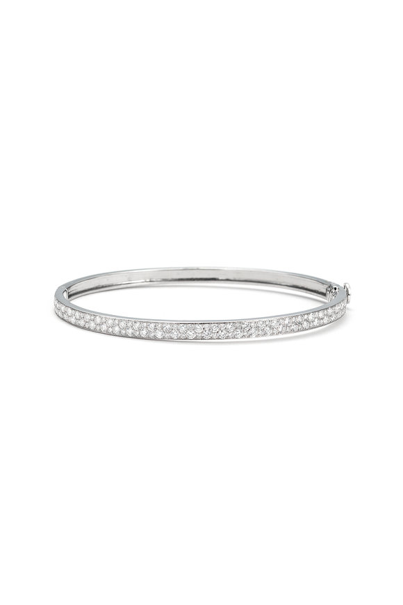 Nam Cho 18K White Gold Half Pavé Two Row Bangle