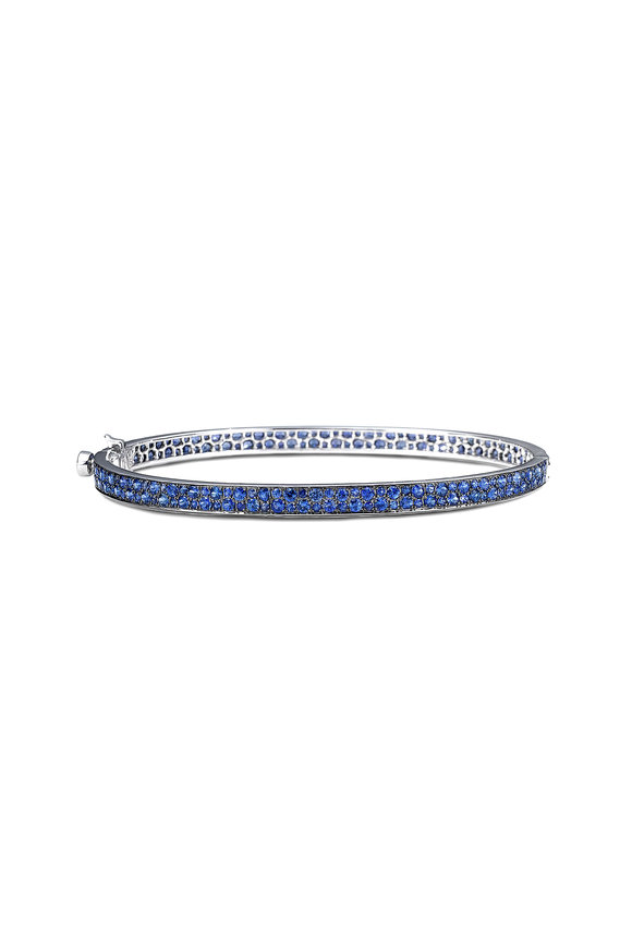 Nam Cho 18K White Gold Two Row Half Pavé Bangle