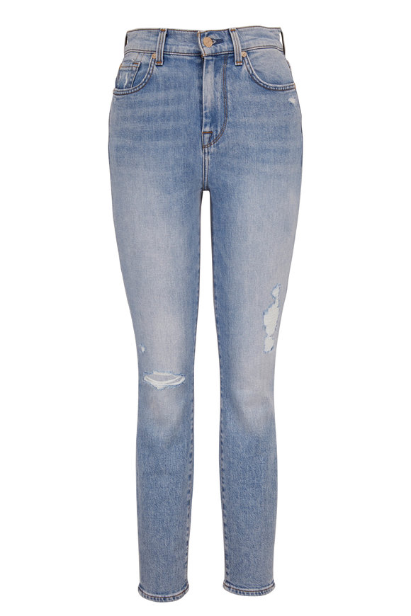 7 For All Mankind Light Wash Denim High-Rise Ankle Jean