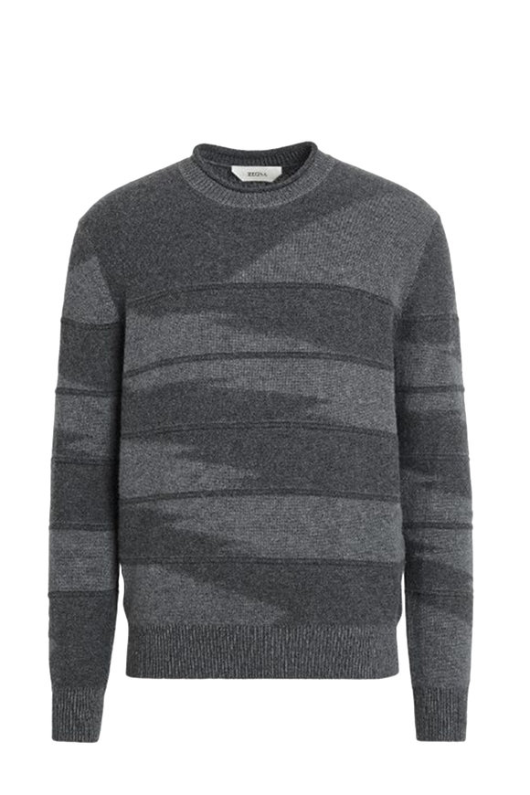 Z Zegna Gray Cashmere Crewneck Sweater