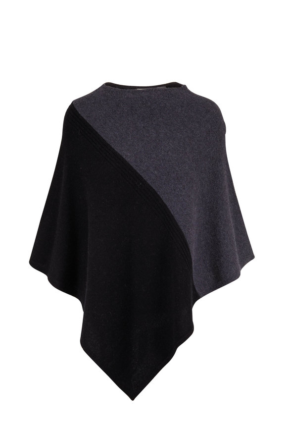 Kinross Charcoal/Black Colorblock Poncho